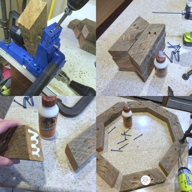 making octagon frame with pocket holes and reclaimed wood