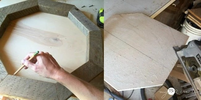 using octagon frame to trace and cut a plywood center piece