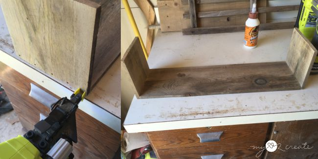 attaching ends of crate to bottom board with glue and nails
