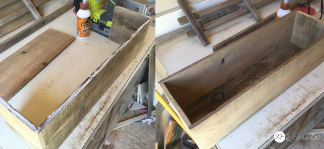 using glue to nail side boards to crate ends and bottom