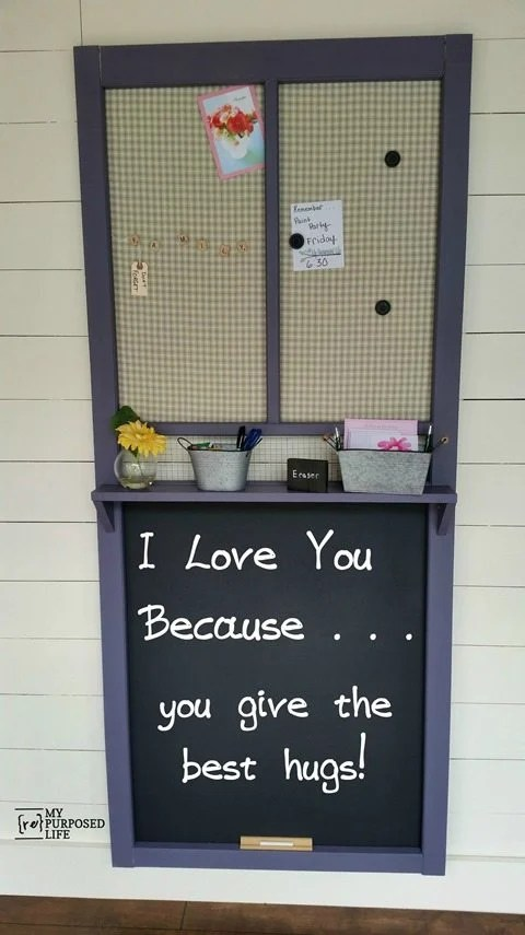 vintage screen door made into chalkboard command center