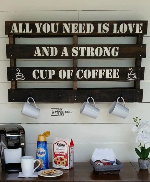A reclaimed pallet is perfect for making a coffee cup rack. With a stencil, some stain and hooks you'll be finished in no time! I have all the tips you need to complete this project in an afternoon. #MyRepurposedLife #pallet #repurposed #coffeelovers #repurposed #project via @repurposedlife