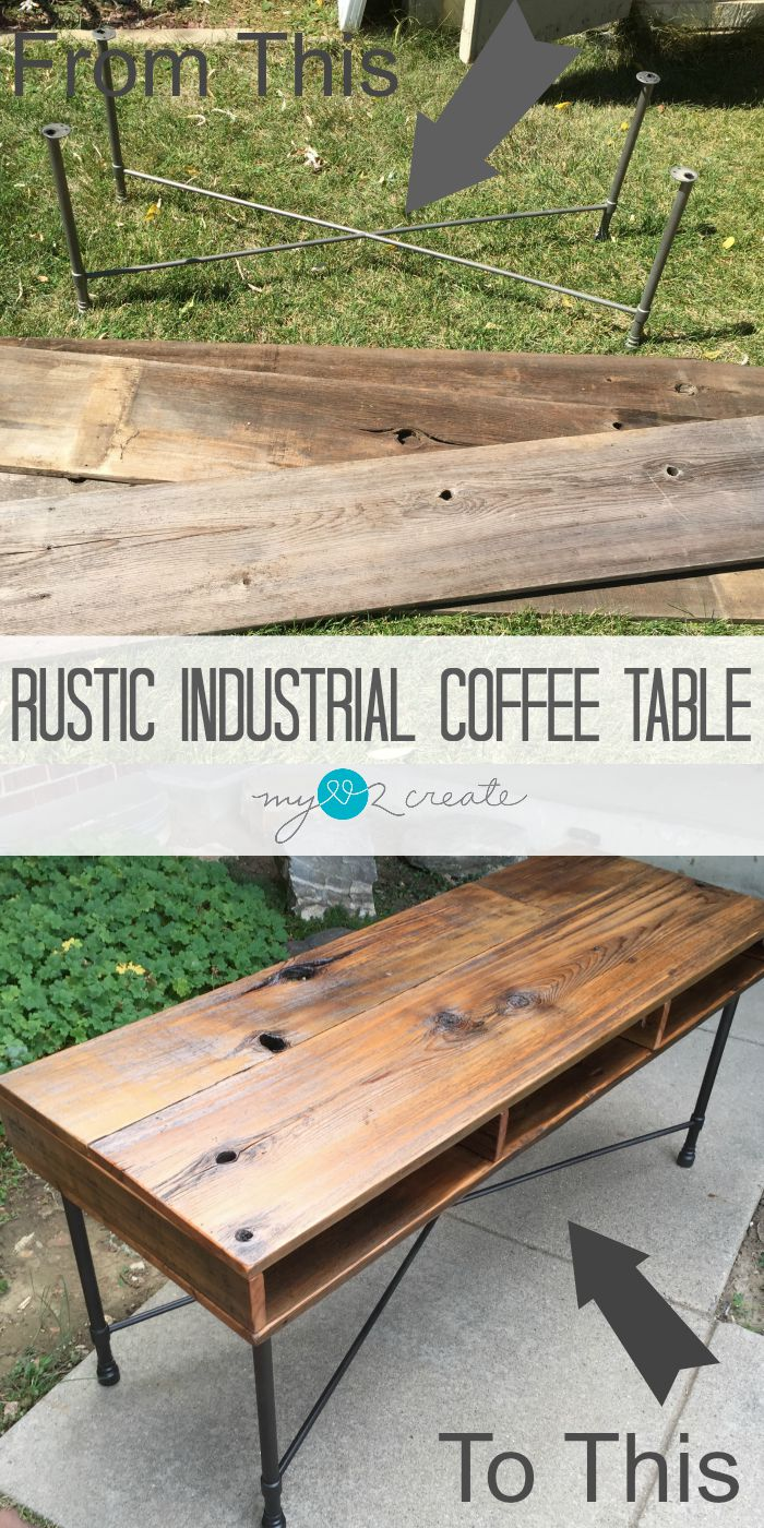 Use a former table base and reclaimed fence wood to make a new and useful piece of furniture. Don't overlook broken down tables. This shows you just what you can do with a bunch of junk. #MyLove2Create #MyRepurposedLife #reclaimed #wood #table #project #industrial  via @repurposedlife