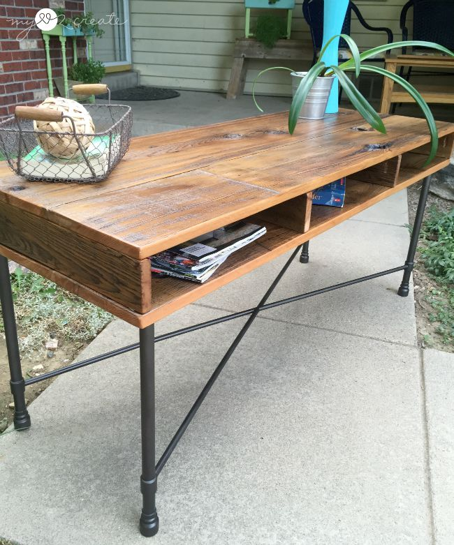 reclaimed wood coffee table with metal base