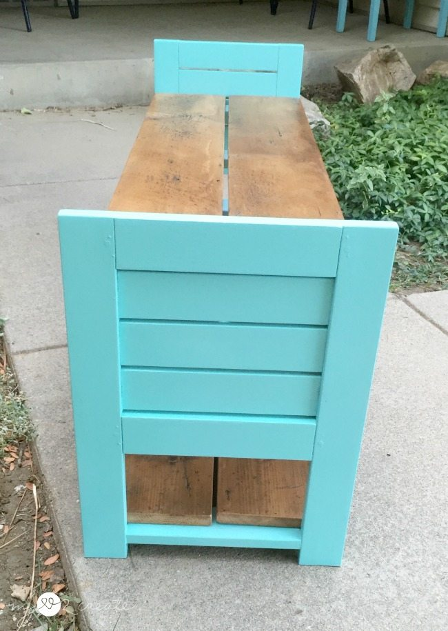 side view of children's bench
