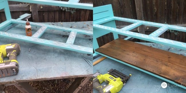 adding bench seat and shelf with reclaimed barn wood using glue and finish nails