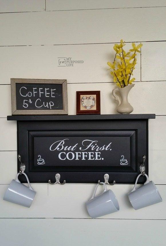 converted cupboard door coffee cup shelf