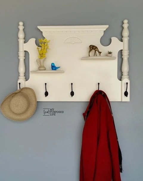 my-repurposed-life-repurposed-bed-coat-rack-shelf