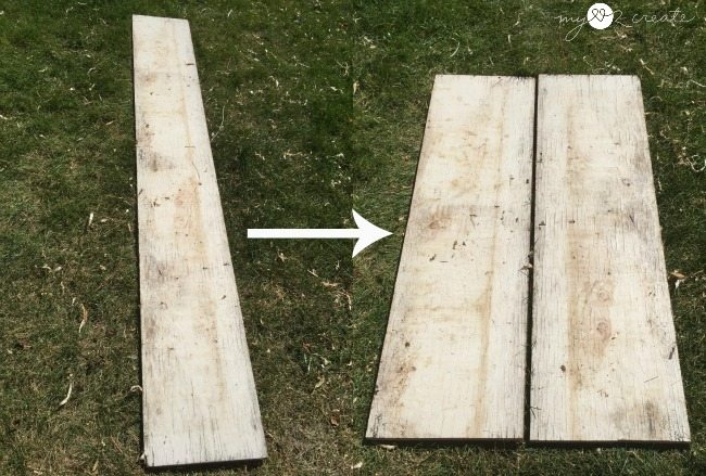 Cut scrap plywood in two