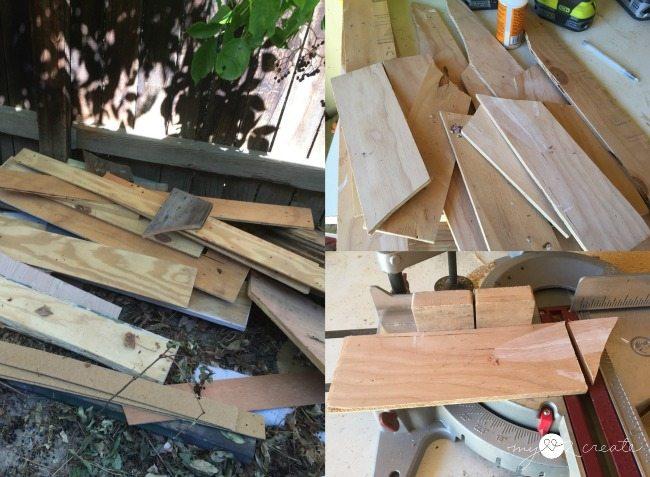 using scrap junk wood for subway art