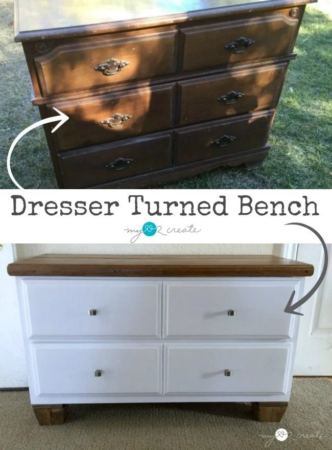 how to turn a dresser into a bench