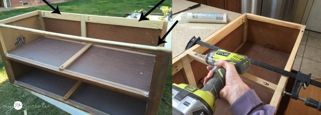 adding support boards to dresser to turn into a bench