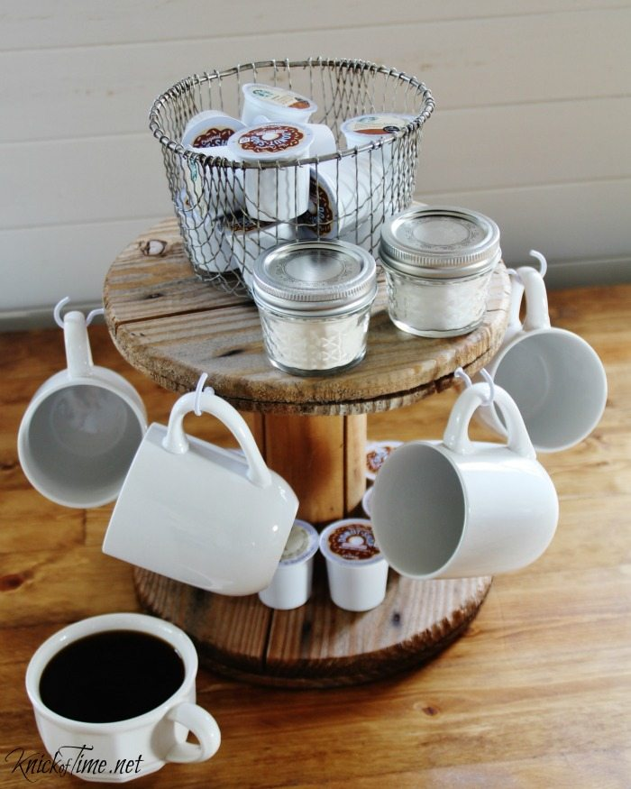 This easy repurposed spool coffee station project is something you can do this weekend. #coffee #station #organization via @repurposedlife