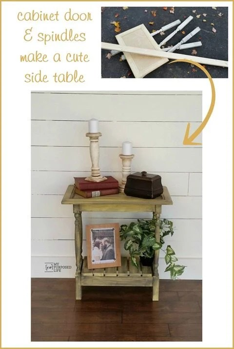Cabinet Door Side Table Using bits and pieces you can easily build your own custom side table. #MyRepurposedLife #diy #repurposed #bits&pieces #spindles #cabinetdoor #repurposed via @repurposedlife