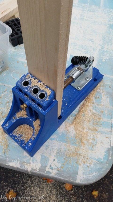 drill Kreg Jig pocket holes