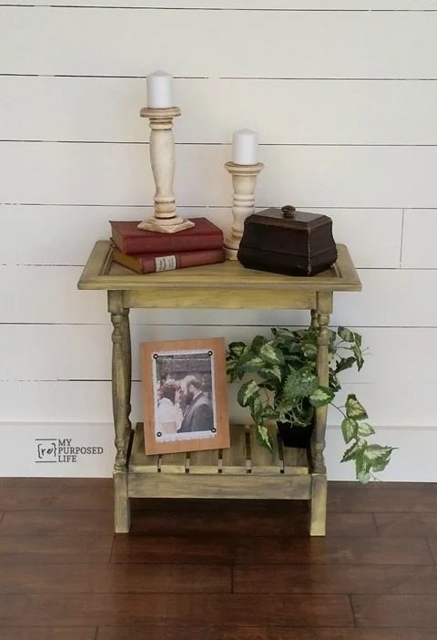 My Repurposed Life small yellow glazed cabinet door table
