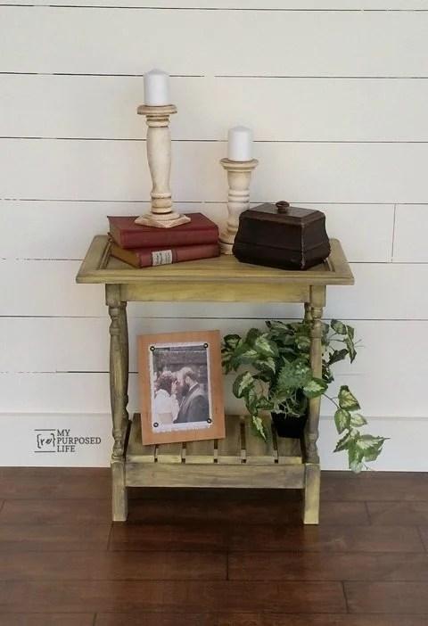 My Repurposed Life small yellow glazed cabinet door table