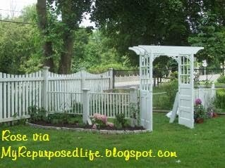 old doors make a great addition to the garden arbor