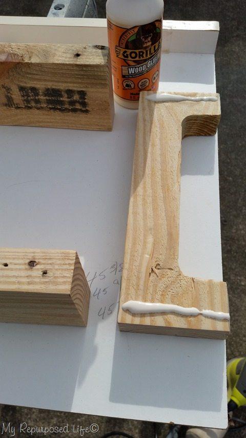 attach glue pallet board tray frame