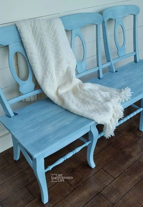 blue chair bench MyRepurposedLife.com