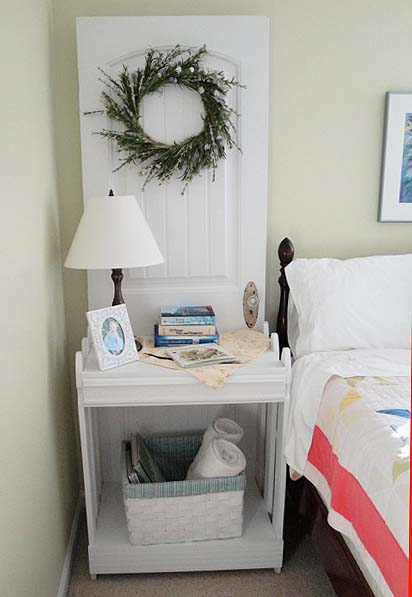 cute nightstand made from a door