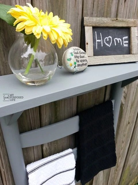 diy rocking chair back towel shelf MyRepurposedLife.com