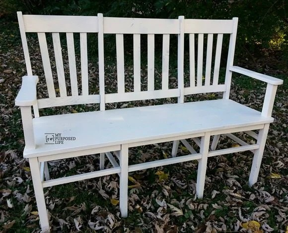 double triple chair white bench MyRepurposedLife.com
