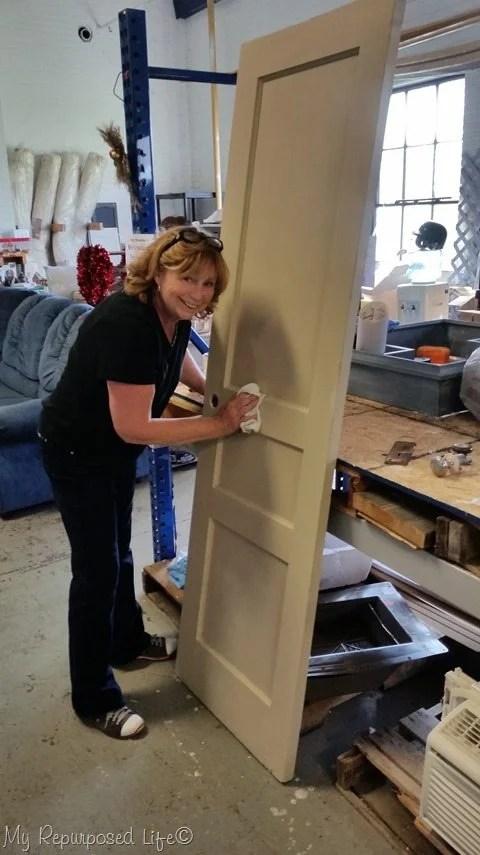 gail waxing the painted antique door