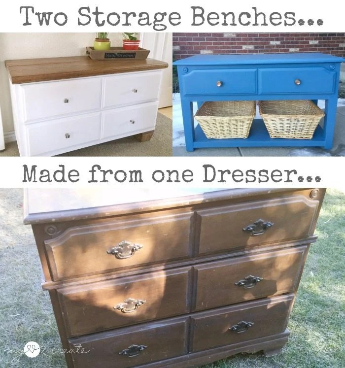 two storage benches repurposed from one dresser