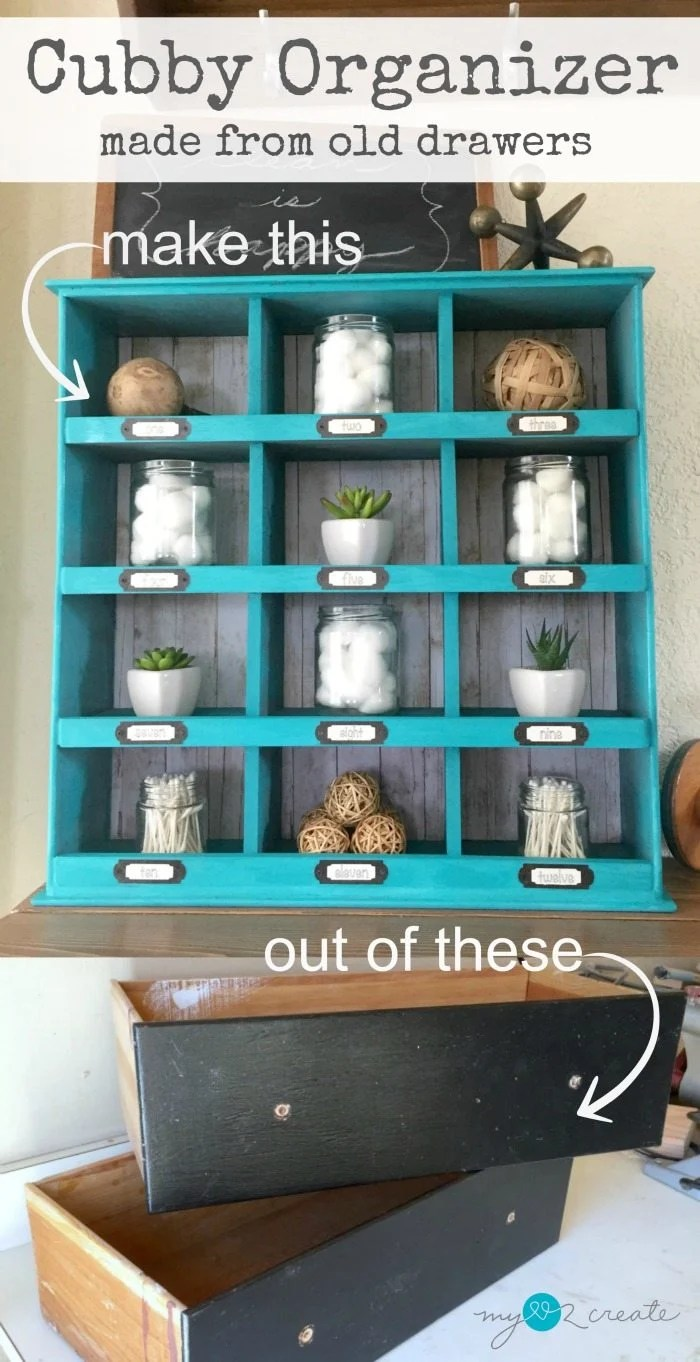 repurposed drawer cubby organizer
