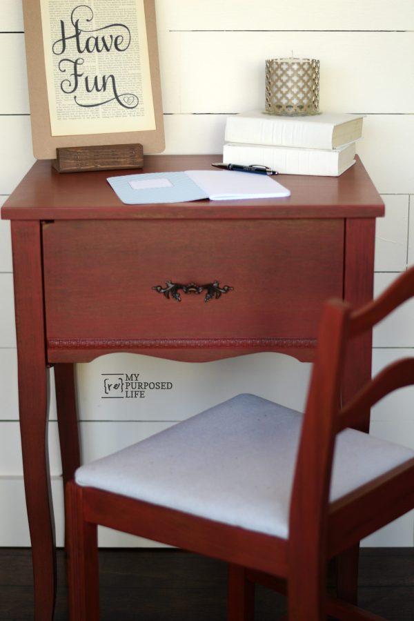 red writing desk MyRepurposedLife.com