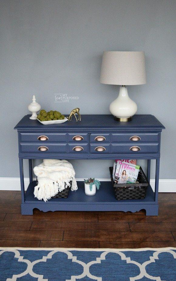 repurposed furniture ideas turn a dresser into a hall table, sofa table MyRepurposedLife.com