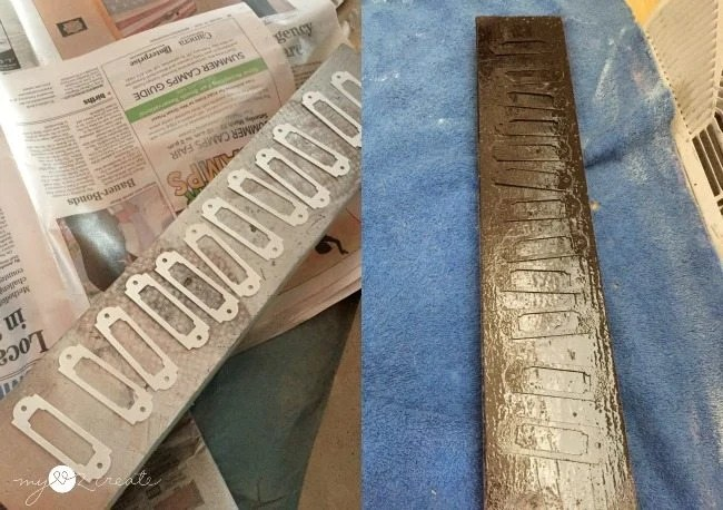 spray painting faux labels