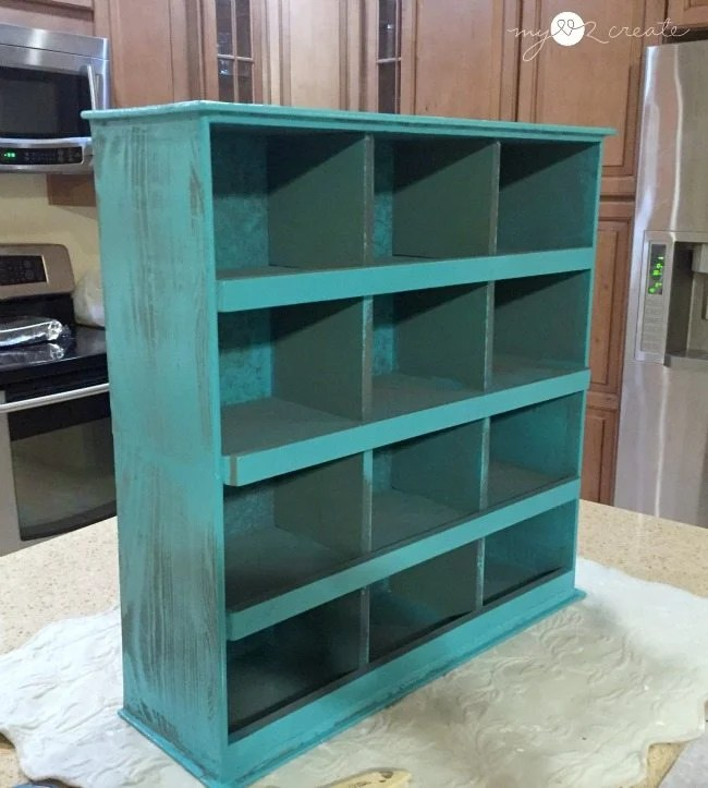 spray painted cubbies needing touch up