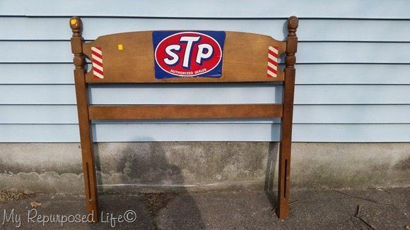 stp sticker covered headboard
