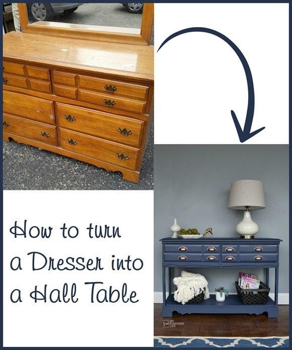 repurposed furniture ideas turn a dresser into a hall table MyRepurposedLife.com