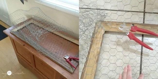 Cutting chicken wire for cabinet door