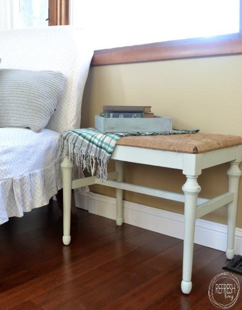 DIY rustic woven bench