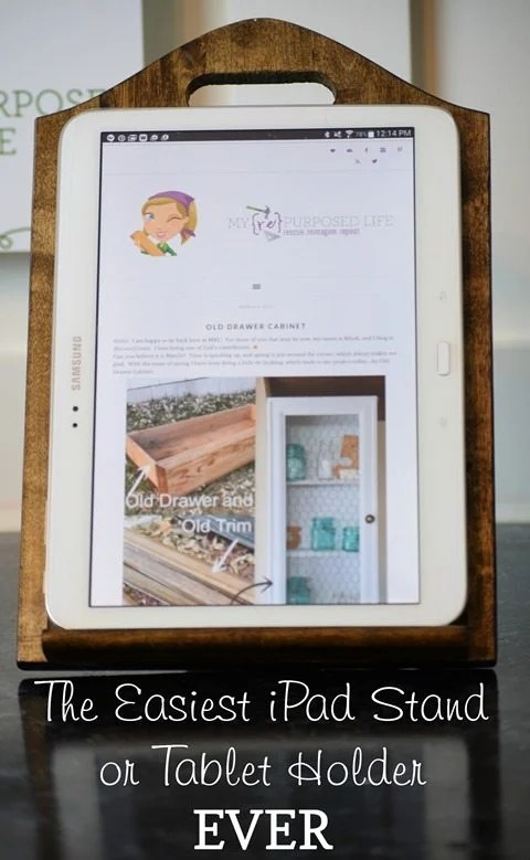 the easiest iPad stand or tablet holder ever MyRepurposedLife.com