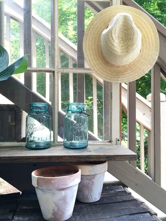 Old-window-idea-Repurposed-Window-is-now-a-Garden-Shelf-easy-power-tool-challenge-perfect-for-the-patio-at-Refresh-Restyle