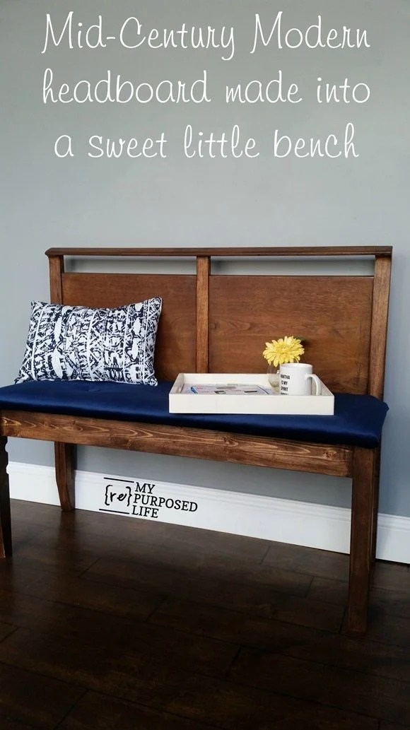 mid-century modern headboard made into a sweet little bench