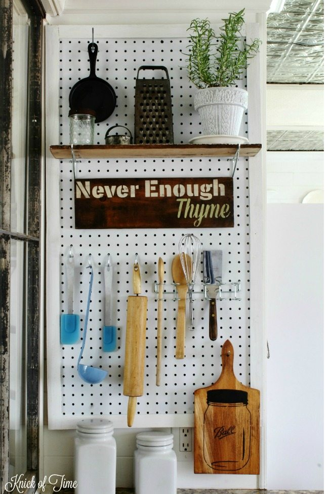 Utilize the space on a small wall in your kitchen with a pegboard organizer - Knick of Time