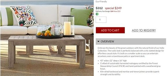 potter barn outdoor coffee table 249.00