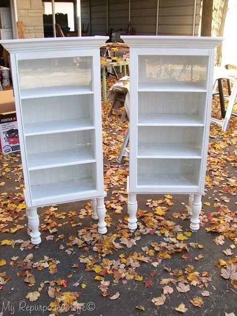 make tall window cabinets out of repurposed furniture