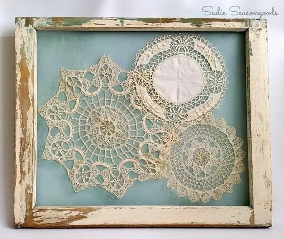 vintage doily display old window