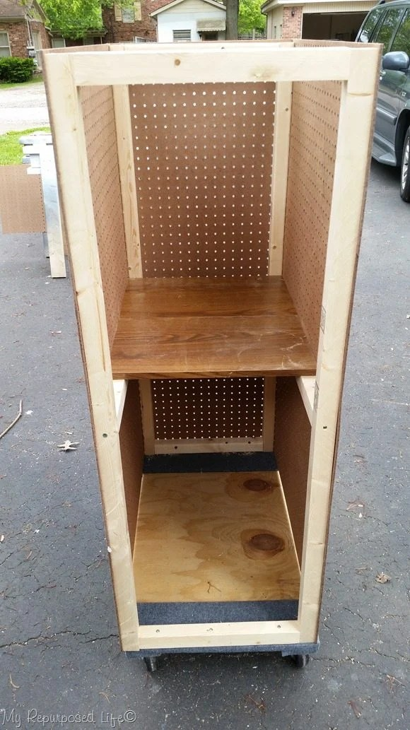 adding shelves pegboard tool cart