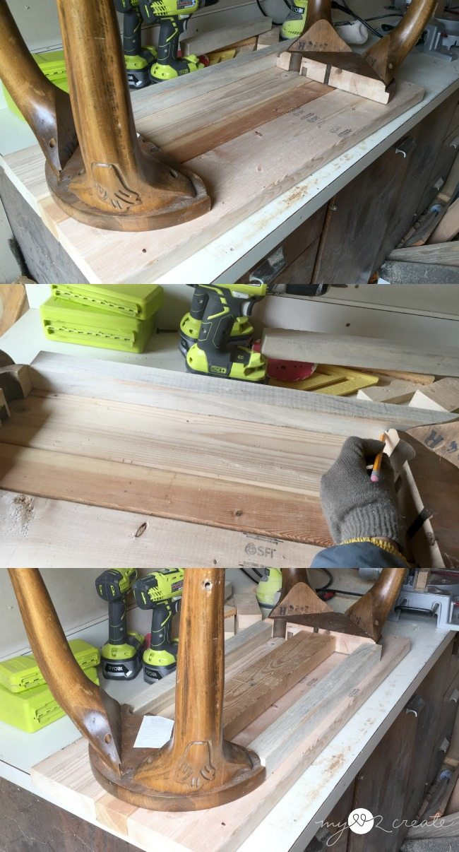 fitting bench top and support rails