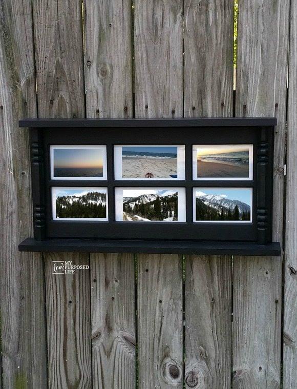 repurposed glass hutch door picture frame wall shelf MyRepurposedLife.com