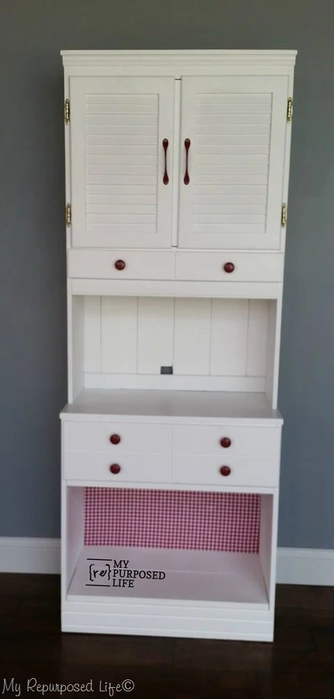 white kitchen hutch makeover MyRepurposedLife.com
