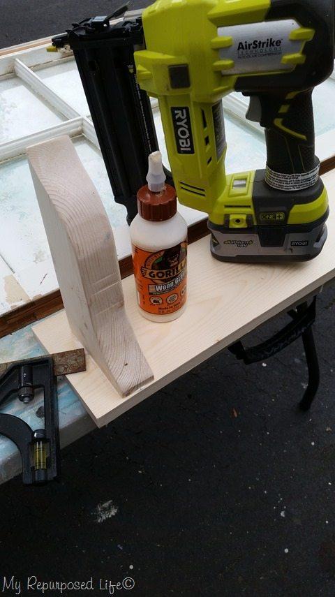 window shelf brace nail and glue
